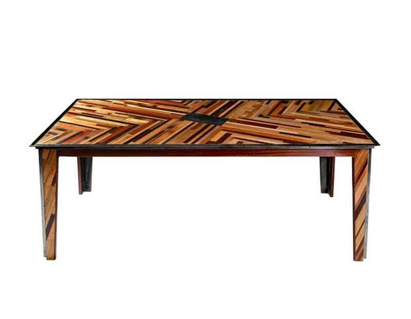 tavolo con mosaico mogano e lavagna centrale