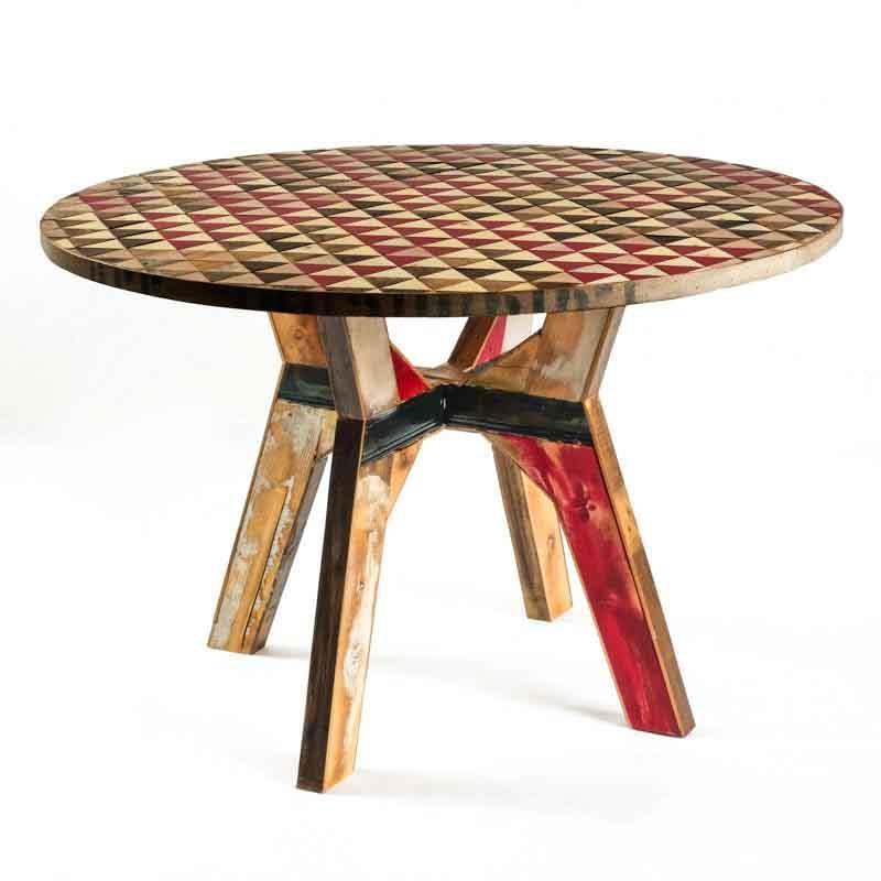 tavolo tondo legno riciclato