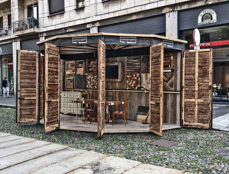 struttura smontabile, stand di legno di recupero e ferro