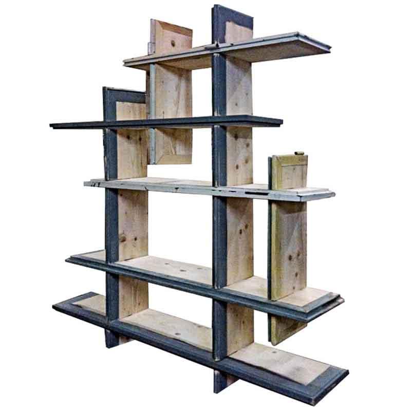 libreria di legno recuperato