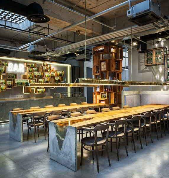 tavoli legno resina e cemento