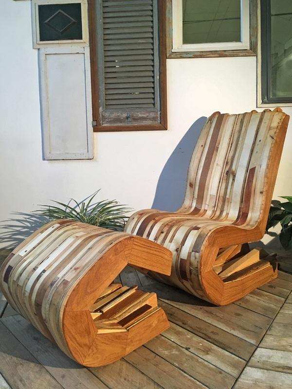 poltrona legno riciclato