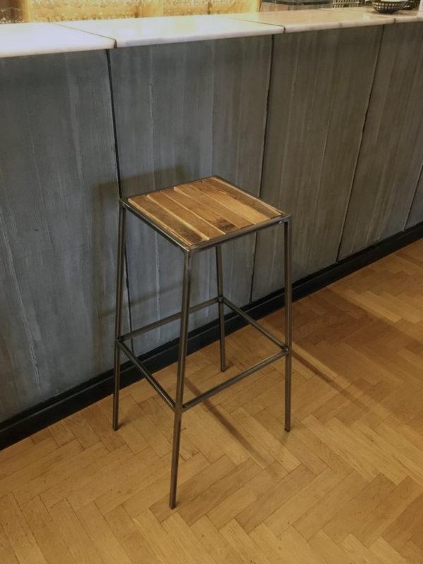 sgabello ferro e legno da bancone