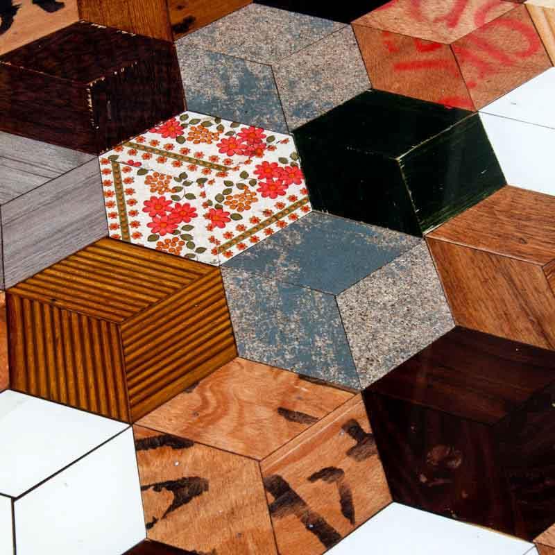 esagoni di legno riciclato
