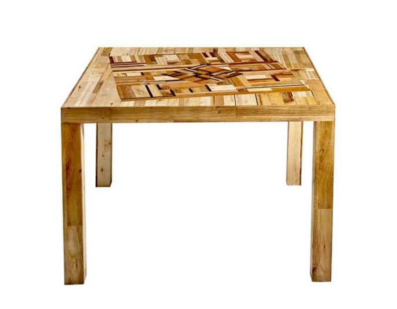 tavolo con mosaico legno recuperato