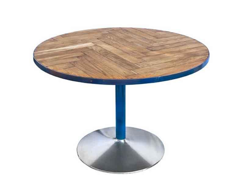 tavolo tondo con parquet di rovere recuperato