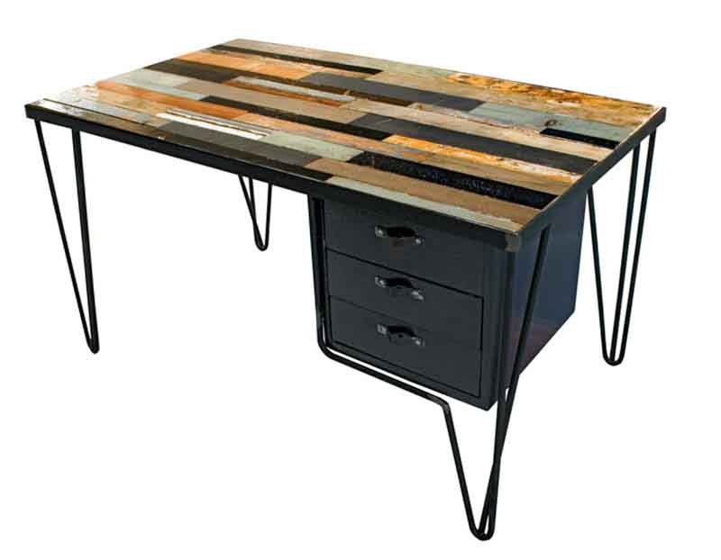 scrivania con cassetti realizzata a mano