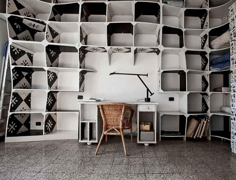 libreria su misura bianca e nera