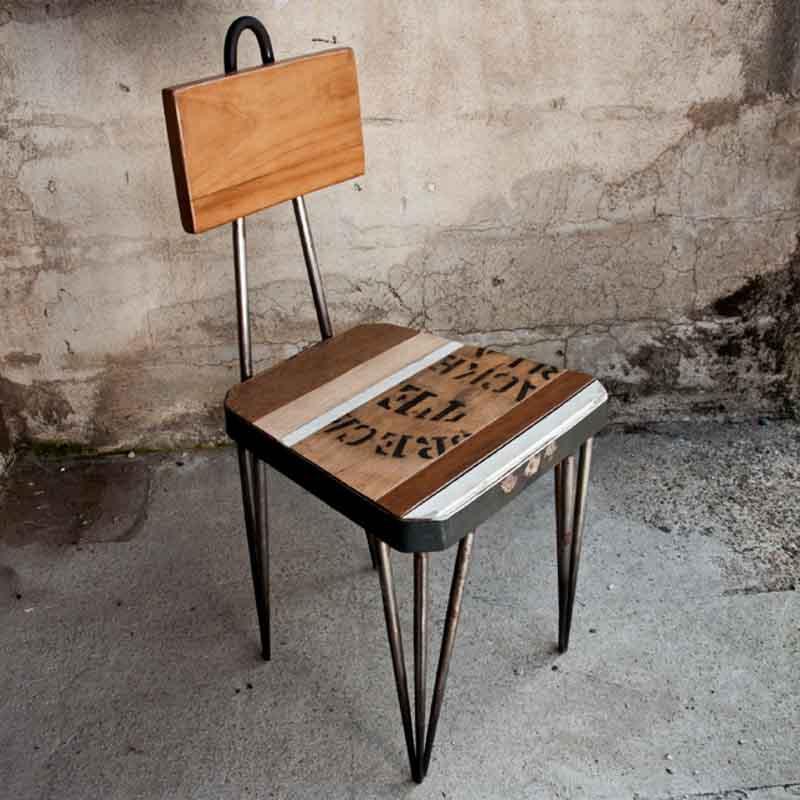 sedia legno riciclato e ferro