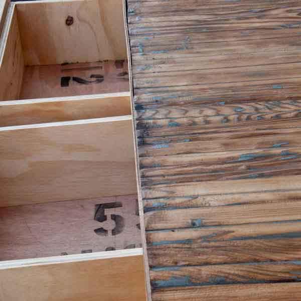 tapparella di legno riciclata e cassetti
