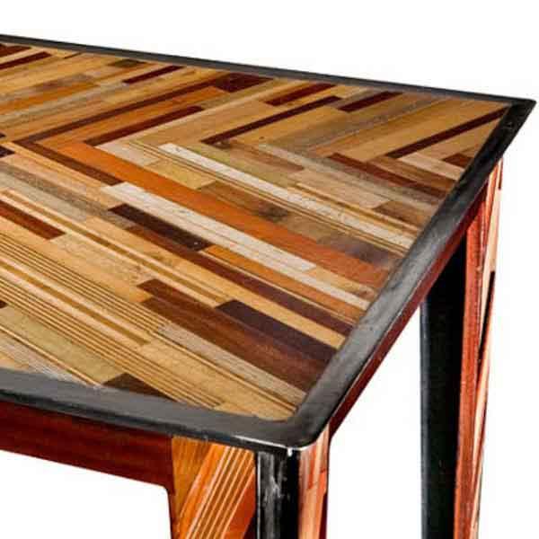mosaico legno recuperato e ferro