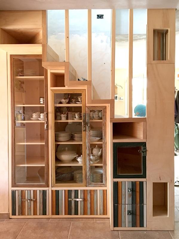 scala da interni con legno di recupero